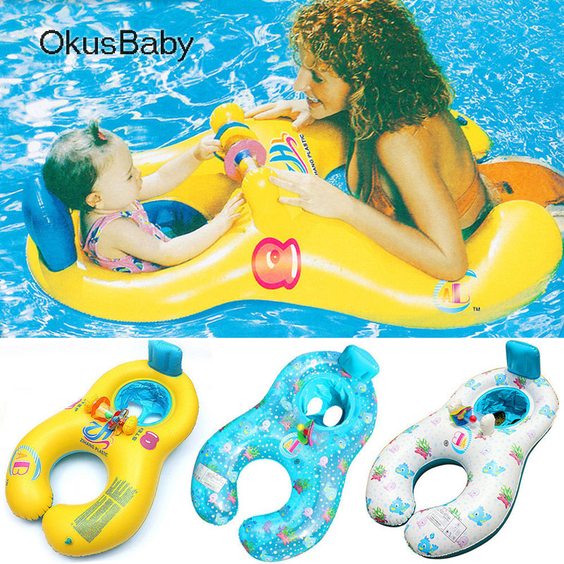 Summer Mother Child Double Inflatable Ring Swimming Circle Baby Float Double Swimming Pool Accessories Swim Trainer Circles Toys