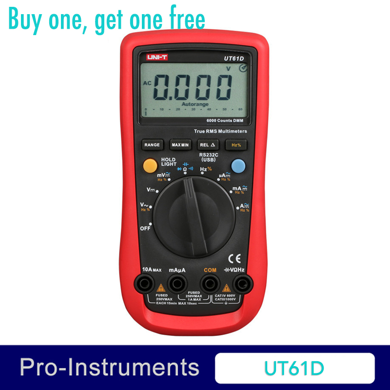 UNI-T UT61D Modern Digital Multimeters RMS RS232 REL AC DC Amperemeter 22000 Count Auto Range Test Meter uni t ut61e digital multimeters meter digital multimeter auto range true rms peak value rs232 rel ac dc amperemeter