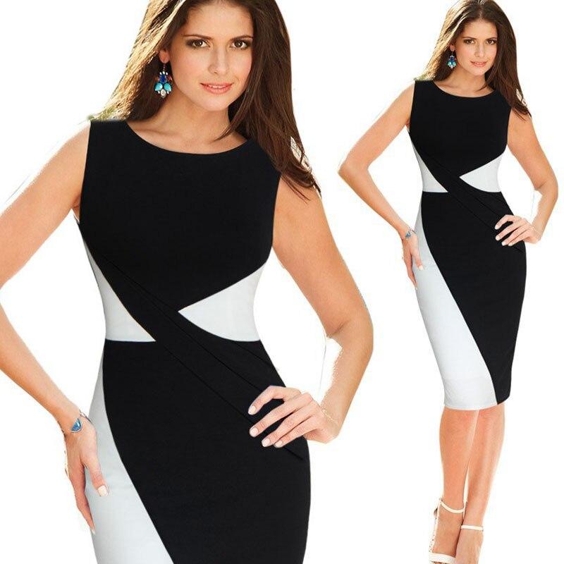 b2cfa508dd477 Kadın Iş Elbisesi Seksi Yaz Kadın Elbise Patchwork Zarif Kontrast Renk Blok  Kolsuz Bodycon Elbiseler Artı Boyutu Vestidos