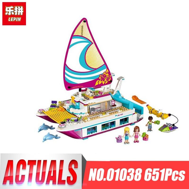 Lepin 01038 Amici Ragazza Blocchi Serie di giocattoli Sole Catamarano bambini Mattoni giocattolo ragazza regali Legoing Compatibile 41317