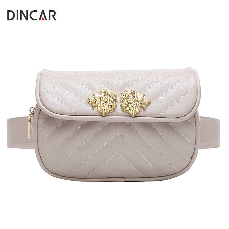 5d93b48db819 DINCAR голова льва талии сумка Для женщин Fanny Pack Пояс сумка стеганая из  искусственной кожи Сумка