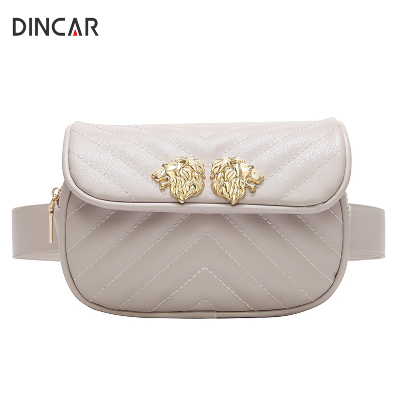 DINCAR Lion Head Waist Bag Women Fanny Pack Waist Belt Bag Quilted PU Leather Shoulder Chest Bag Velvet Casual Phone Handbag New dark green velvet twistlock closure quilted chain bag