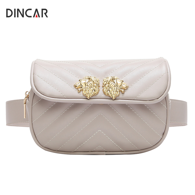 DINCAR Lion Head Waist Bag Women Fanny Pack Waist Belt Bag Quilted PU Leather Shoulder Chest Bag Velvet Casual Phone Handbag New