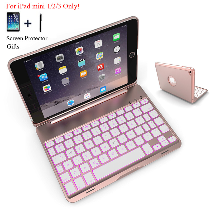 For iPad Mini 1 2 3 Wireless Bluetooth Keyboard Case For iPad Mini 1/2/3 Tablet Aluminum Alloy Stand Cover Capa Fundas+Stylus original bluetooth keyboard case for 7 9 inch ipad mini 1 2 3 tablet pc for ipad mini 1 2 3 keyboard case cover
