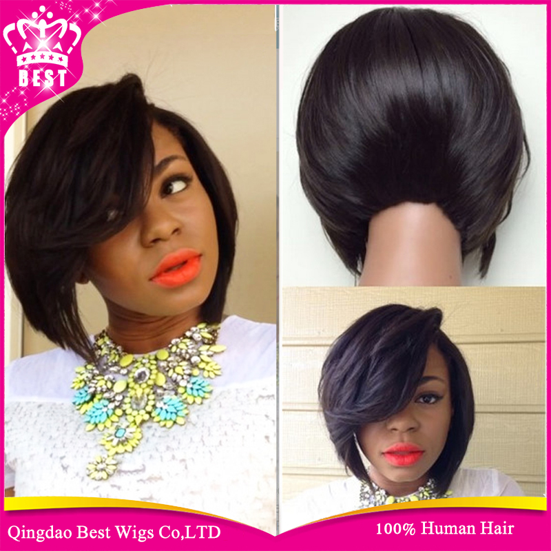 17A Top Quality Black Human Hair Glueless Full Lace Srt Bob Wigs ...