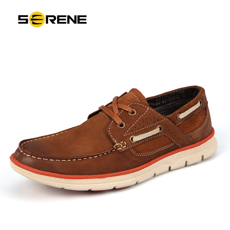 SERENE Brand Men's Boat Shoes Plus Size 39~46 Leather Shoes Business Casual Loafers Non-slip Wear Men Driving Shoes Moccasins