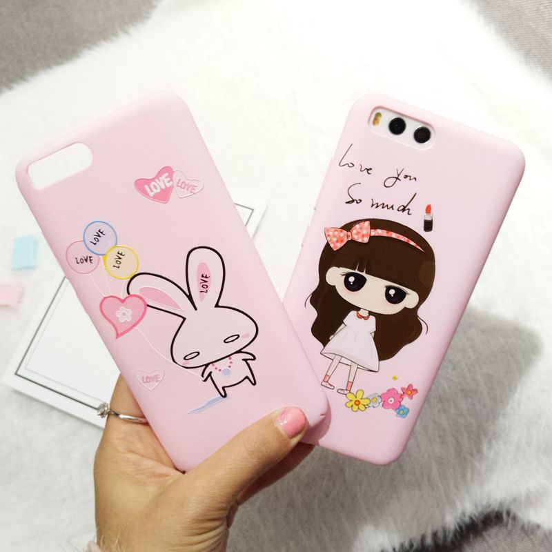 Pink cover For xiaomi 6 case kinds pictures cartoon girl rabbit PC case For Xiaomi MI6 cute rabbit phone fundas for xiaomi6