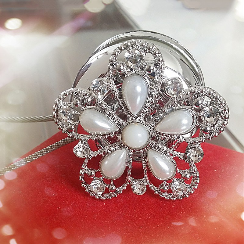 Magnetic Diamond Flower Steel wire Curtain Clips Tiebacks Holdbacks 1 PCS