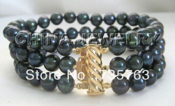 "xiuli 00328 Gorgeous AAAA 8"" 3row 8mm BLACK perfect round freshwater pearl bracelet-14KGP/20"