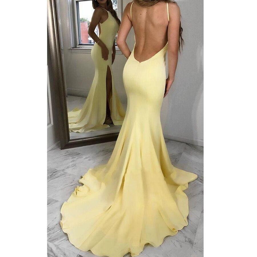 Robes Sexy jaune sirène robes de bal 2019 licou côté fendu dos ouvert robes en mousseline de soie tenue de soirée fête robes formelles