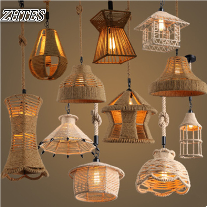Creative Lights Loft Industrial Hemp Retro Chandelier Personality Cafe Bar Restaurant Chandelier Fixtures retro cafe bar long spider lamp loft light industrial creative office the heavenly maids scatter blossoms chandelier