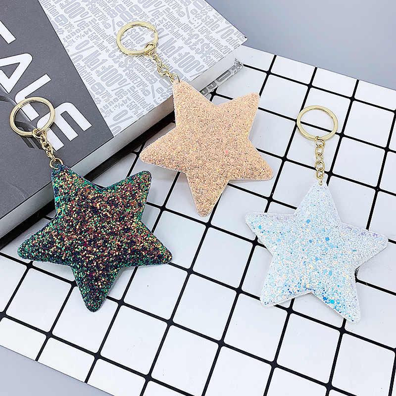 Nova estrela pokemon chaveiro cristal reflexivo lantejoulas pompom chaveiro sacos pingente jóias presente da menina chave do carro acessórios