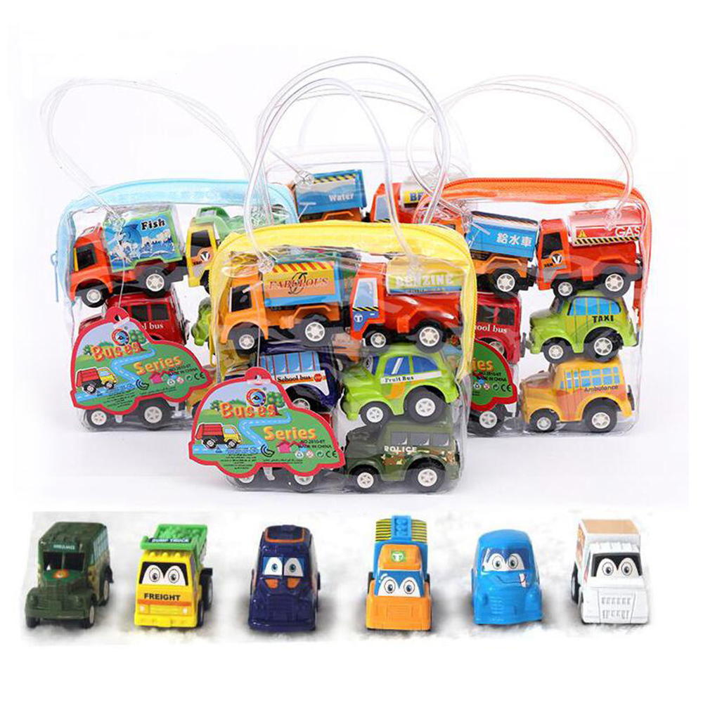 6PCS One Set New Classic Boy Girl Cute Truck Vehicle Kids Child Toy Mini Small Pull Back Car Toys Best Gift For Kids 1958 cute classic car 100