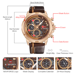 Image 5 - NAVIFORCE Herrenmode Sport Uhren Wasserdicht Lederband Kreative Analog Quarz Armbanduhr Männer Uhr Relogio Masculino