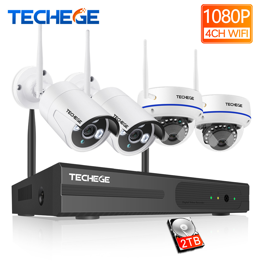 Techege 1080P Wireless CCTV System 4CH HD WiFi NVR kit 2MP Outdoor Vandalproof Dome IP Wifi
