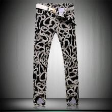 Men Floral Pants 2016 New Brand Slim Cotton jeans Men's Pants Rope Fashion Casual Hip Hop Pants Big Size 28-36 FREE SHIPPING