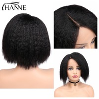 HANNE Brazillian Yaki Straight Human Hair Wigs Short Bob Wig L Part Lace Front Wigs Remy Natural Looking for Women 150% Density