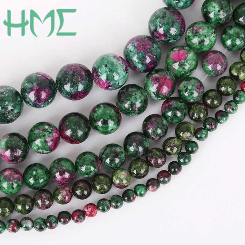 Pas cher 4 6 8 10 12mm Epidote Zoisite rouge vert gemme perles en pierre naturelle pour bracelet à bricoler soi-même collier boucles d'oreilles entretoise fabrication de bijoux