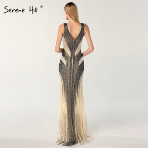 Image 3 - Dubai design cinza luxo com decote em v vestidos de noite sereia lantejoulas beading sexy vestidos de noite sereno hill la60748