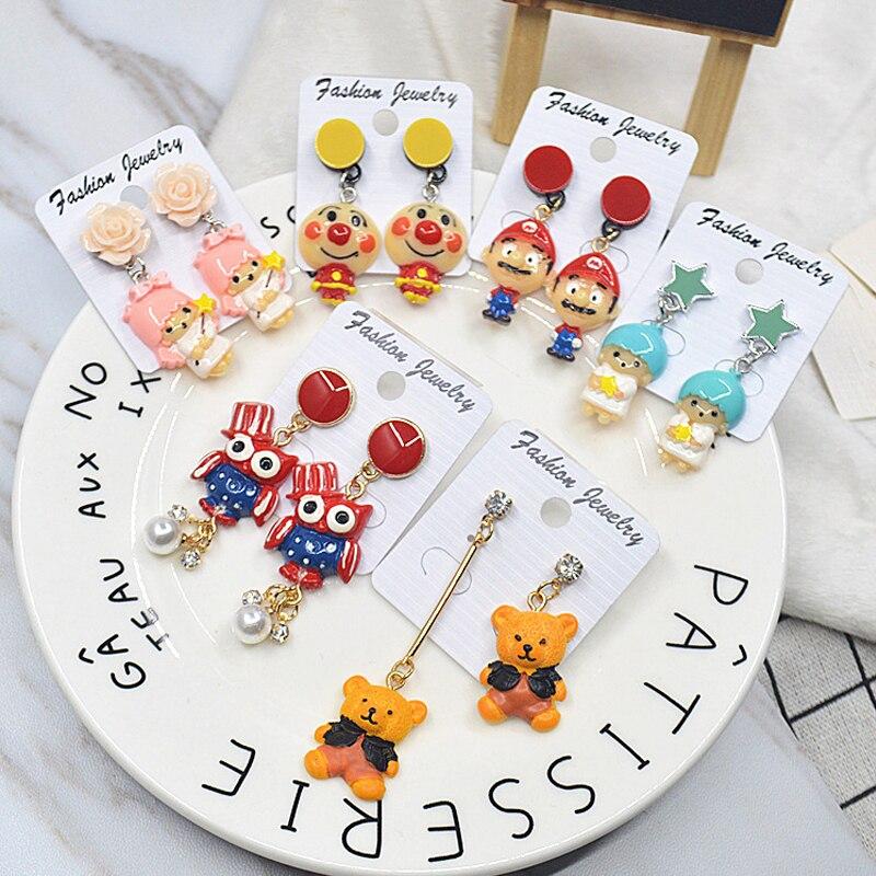 Cute Style Earrings For Women Emulation Cartoon Character Bear Super Mario Lovely Girls Hipster Creative Women Jewelry