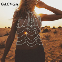 GACVGA 2017 High End Hand Made Pearl Crop Top Women Vest Bralette Backless Sexy Tank Top