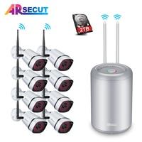 ARSECUT Wireless NVR Kit 8CH 1080P Full HD Wifi CCTV System 8PCS Outdoor Waterproof 2MP IP