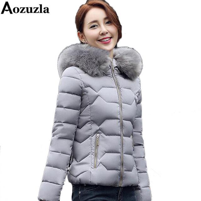 Revestimento das mulheres de Inverno 2017 Estilo Coreano Curto Parkas Gola De Pele de Algodão Com Capuz Fino Outwear Casacos da Mulher Roupas de Moda Feminina