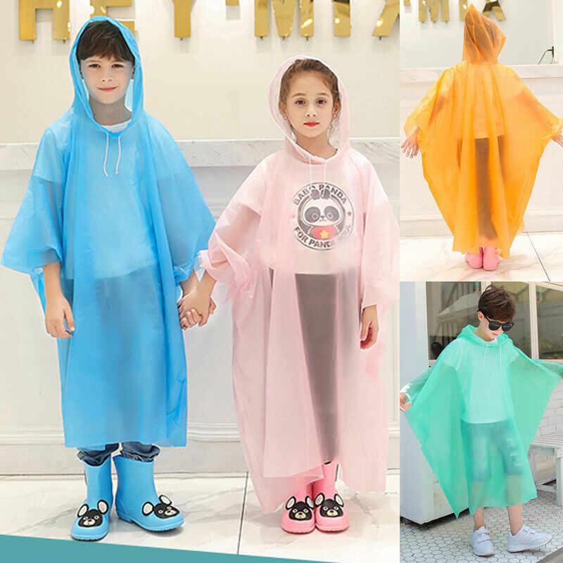 ילדי ילד ילדה בגדי גשם עמיד למים סלעית גשם מעיל להאריך ימים יותר פונצ 'ו מעיל גשם כיסוי עד לילדים 100 כדי 160 cm גובה