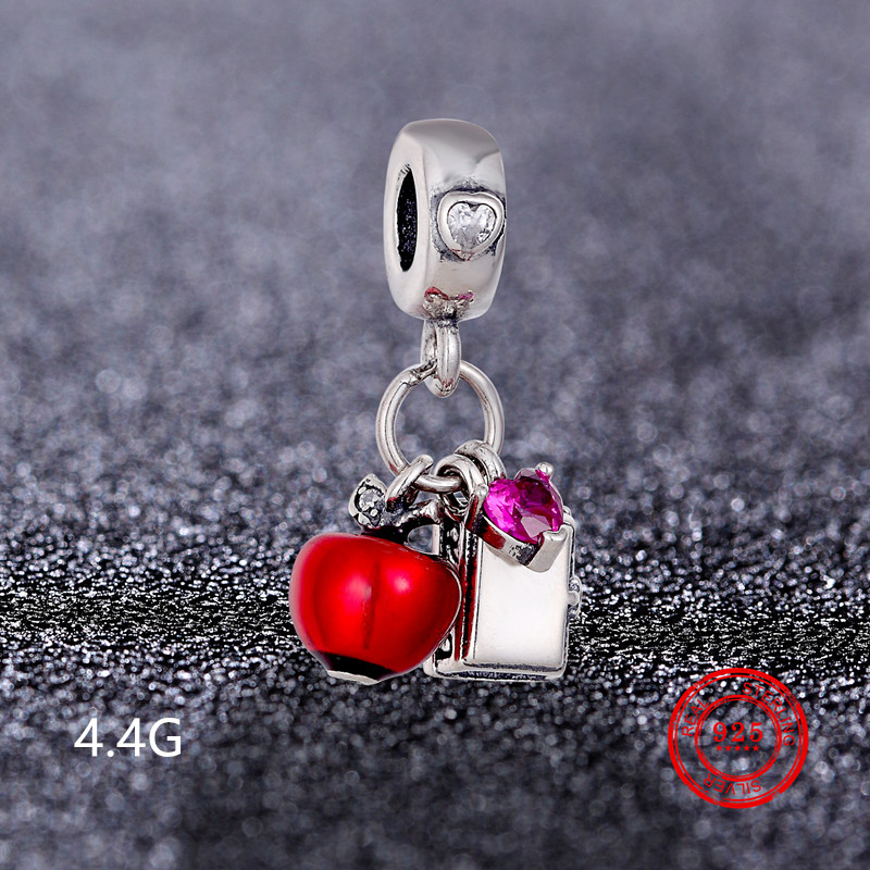 925 Sterling Silver Heart shaped Shiny Charm Beads Pendant for Pandora Bracelet and Bracelet Jewelry DIY Accessories Wholesale in Beads from Jewelry Accessories