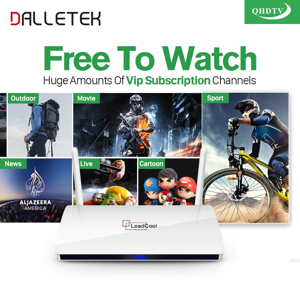 Dalletektv Leadcool IPTV Smart Android TV Box H265 STB with Iptv Europe Arabic QHDTV IUDTV Account IPTV 1 Year Subscription