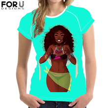 FORUDESIGNS Fashion African Girl Design T shirt Women Cool Elastic Soft Feature Novelty Tops Lady Art Printed Short Sleeve Tees