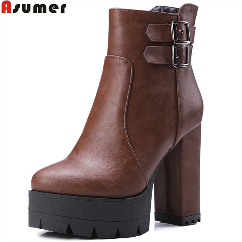 Asumer 2017 hot sale new arrive women boots fashion autumn winter ladies boots simple platform zipper high heels ankle boots