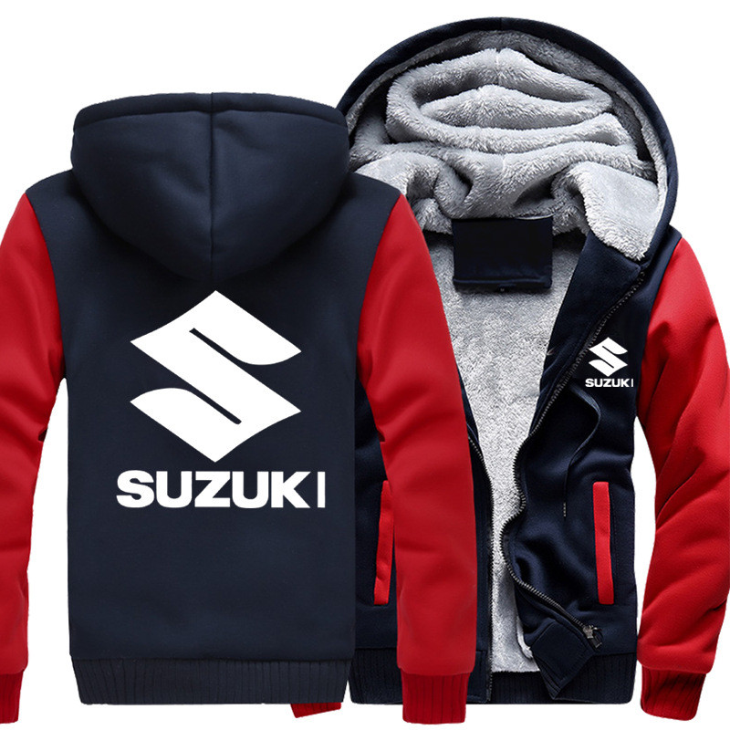 MIDUO 2018 Autumn Winter Suzuki Hoodie Sweatshirt Advertising Jacket Thickening Coats Zipper Fleece Funny Jacket Sweatshirt