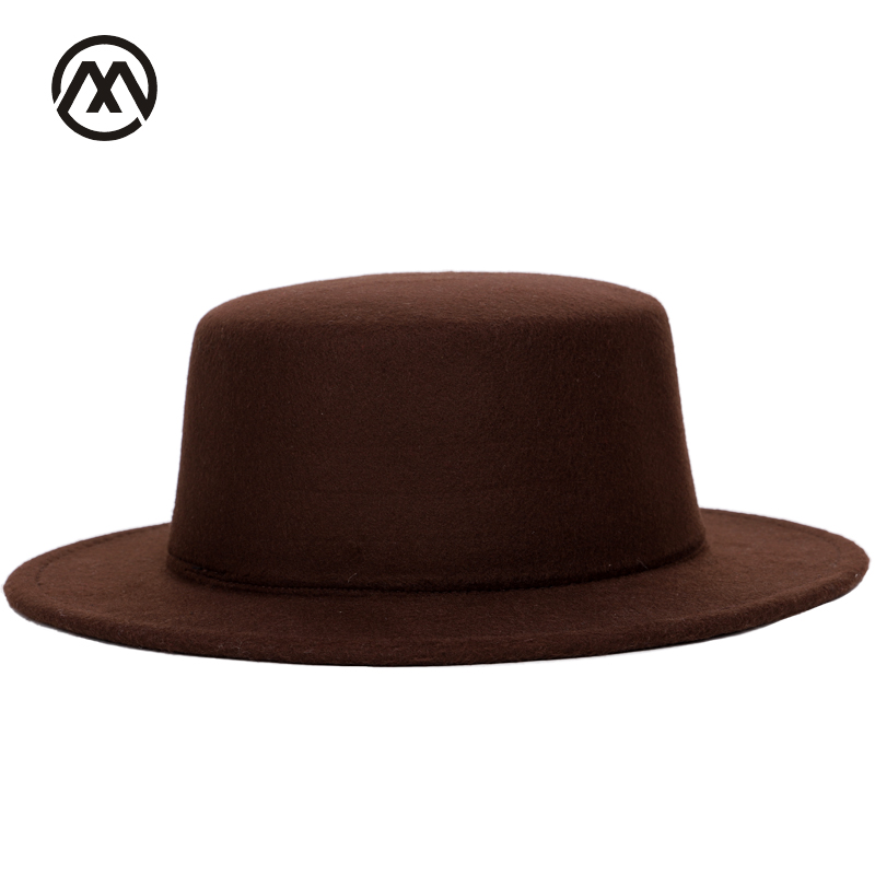 Autumn and winter classic men s fedora warm solid color hats men s and  women s universal adjustable flat e6a58f35b8cd
