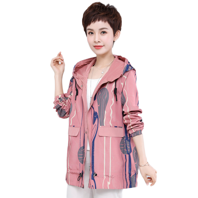 Middle-aged mother Women Windbreak   Jacket   Long Sleeve Hooded Coats Spring Autumn Casual print Zip Up   Basic     Jackets   for Women