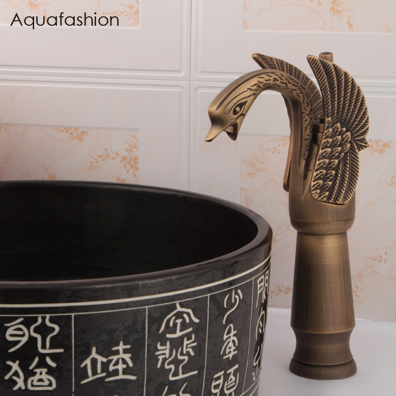 Luxury Swan Basin Faucet Antique Brass Bathroom Basin Sink Faucet Wash Basin Single Handle Hot and Cold Mixer Taps Free Shipping free ship classic bathroom faucet matte black brass basin sink faucet cold hot tap single handle taps mixer