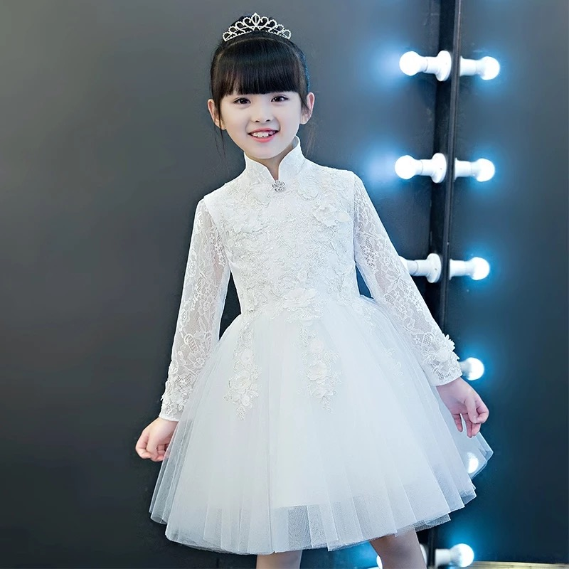 2017New Elegant Luxury Children Girls White Color Princess Birthday Wedding Evening Party Lace Dress Autumn Winter Costume Dress girl party dress 2017new girls birthday wedding party princess white lace dresses kids white tutu mesh costume children clothes