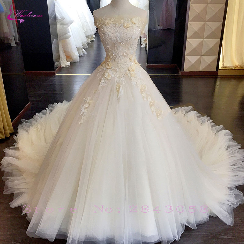 1b993852662a5 US $236.99 19% OFF Waulizane Shiny Beading Floral Print Tulle Strapless  Ball Gown Wedding Dress Court Train Off The Shoulder Lace Up Bridal  Gowns-in ...