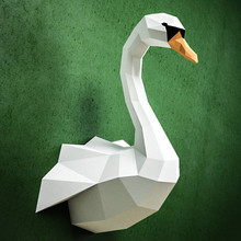 30min Complete DIY 3D Swan Paper Sculpture Papercraft Puzzle Toy Educational Folding Model Christmas Gift Science