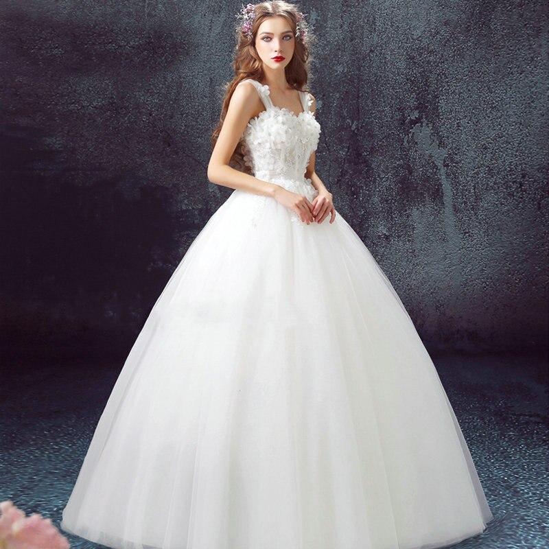 Ball Gown 2016 New Arrival White Sweetheart Appliques Sleeveless Bridal Dresses Vestido De Noiva Custom Cheap Wedding Dresses