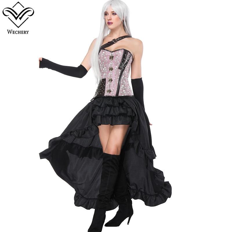 Wechery 2018 Women Corset Skirts Pink Floral Corsets & Elastic Ruffles Cut Out Skirts Single Shoulder Bustier Retro Skirt Set