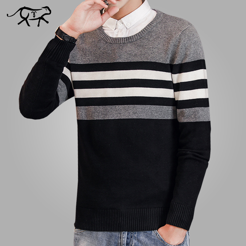 New Brand Casual Sweater Men O-Neck Striped Slim Fit Men Long Sleeve Patchwork Male Pollover Sweater Thin Clothes Agasalho Masc