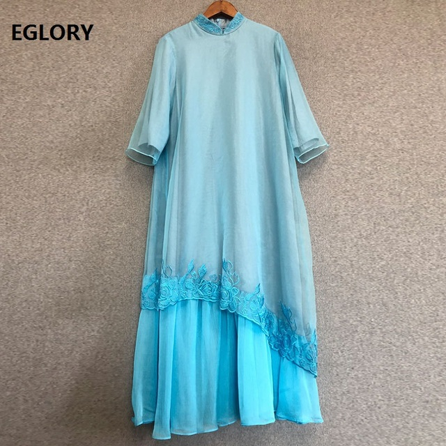 Plus Size Dress 2019 Spring Summer Party Vintage Dress Women Organza Embroidery 3/4 Sleeve Mid-Calf Length Blue Dress Female