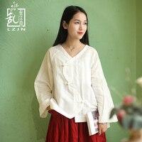 LZJN Chinese Blouses Women Spring 2018 Tops Long Sleeve Blusas S Shape Front V Neck 3