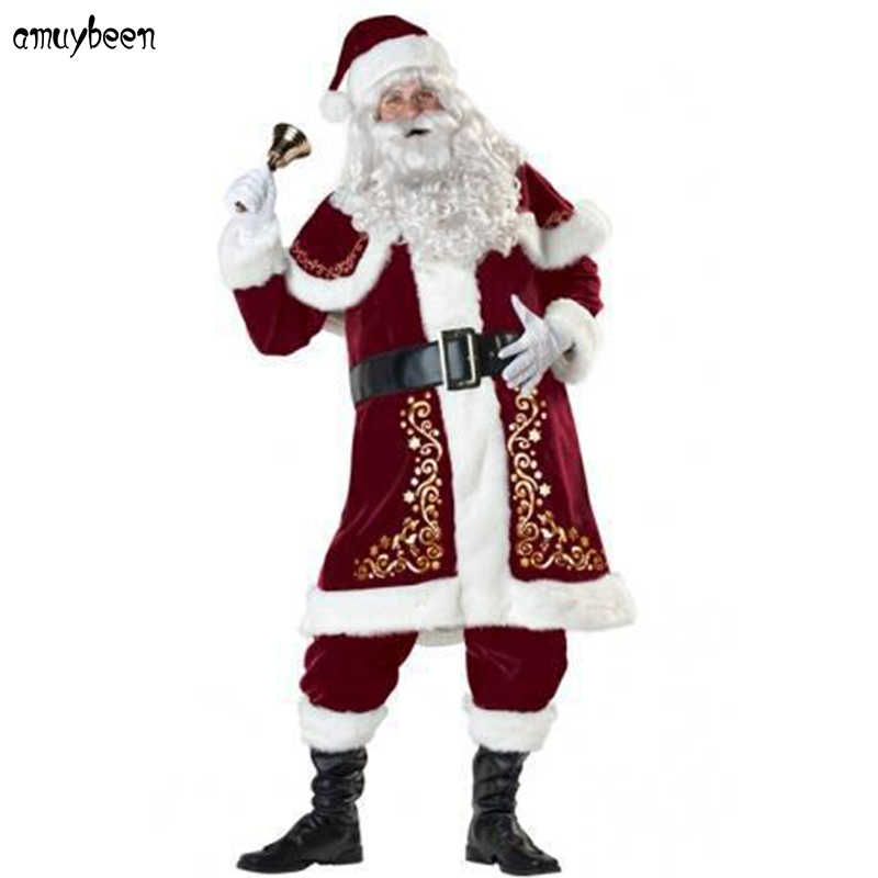 75880c6ea36e2 Detail Feedback Questions about Santa Claus Costume Christmas Adult for Men  Red A Full Set Plus Size XXXL Cosplay Beard Belt Hat Santa Merry Christmas  ...