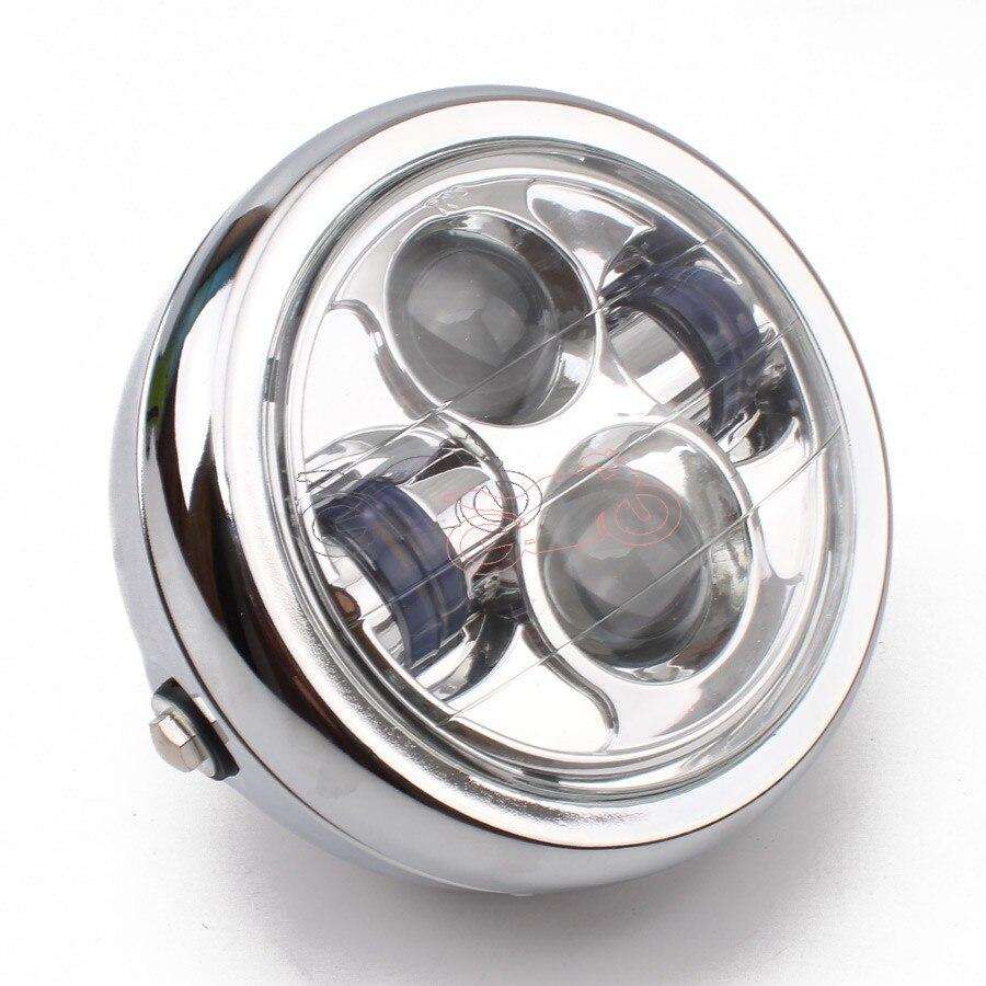 Motorcycle Chrome Metal Retro White LED 6.3