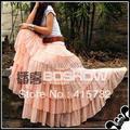 El envío Gratuito 2017 Recién Llegado de Rosa Largo de La Gasa Maxi Faldas Para Mujer Faldas En Capas de la Cintura Elástico Elegante Del Verano Y la Primavera