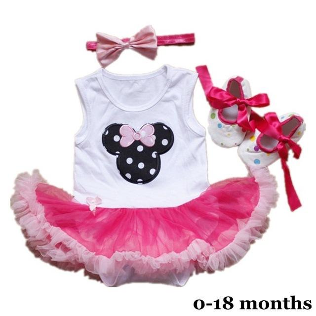3 Unidades de La Niña Recién Nacida Minnie Body Tutu Zapatos del Pesebre de la Venda de Las Muchachas Trajes de Cumpleaños Vestido de Partido de la Muchacha Infantil de la Ropa