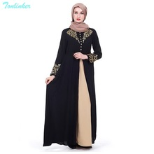 Tonlinker  2018 New Muslim Abaya Arab Turkish Singapore appliques Dubai Muslims Women Dresses Islamic dress Printed clan style