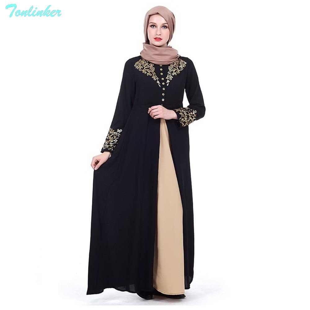 c2702a99b148 Tonlinker 2018 New Muslim Abaya Arab Turkish Singapore appliques Dubai  Muslims Women Dresses Islamic dress Printed
